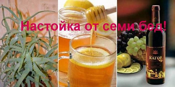 Как сделать настойку из кагора меда и алоэ